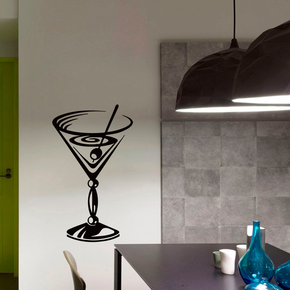 Glass decorations - Dctop Creative Cocktail Glass Wall Sticker Black Vinyl Removable Hollow Out Kitchen Home Decor Art Murals