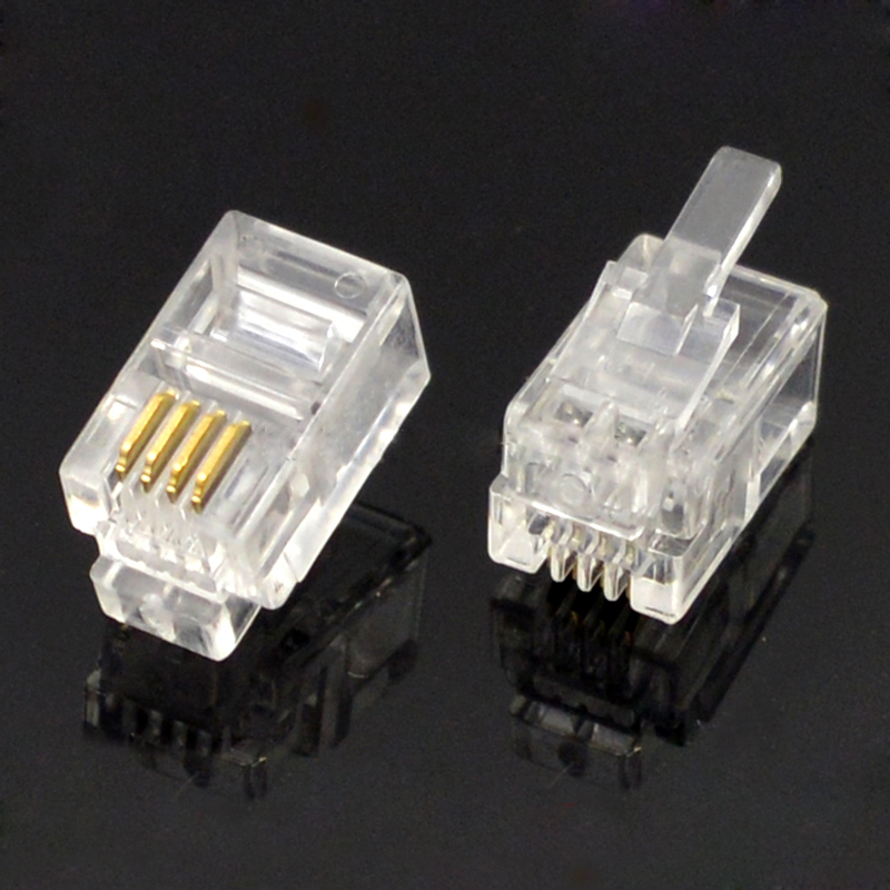 100pcs RJ11 Socket Connector 4P4C Crystal Jack PC Material Phone Microphone Plug 4 Core Crystal Head Gold Plated