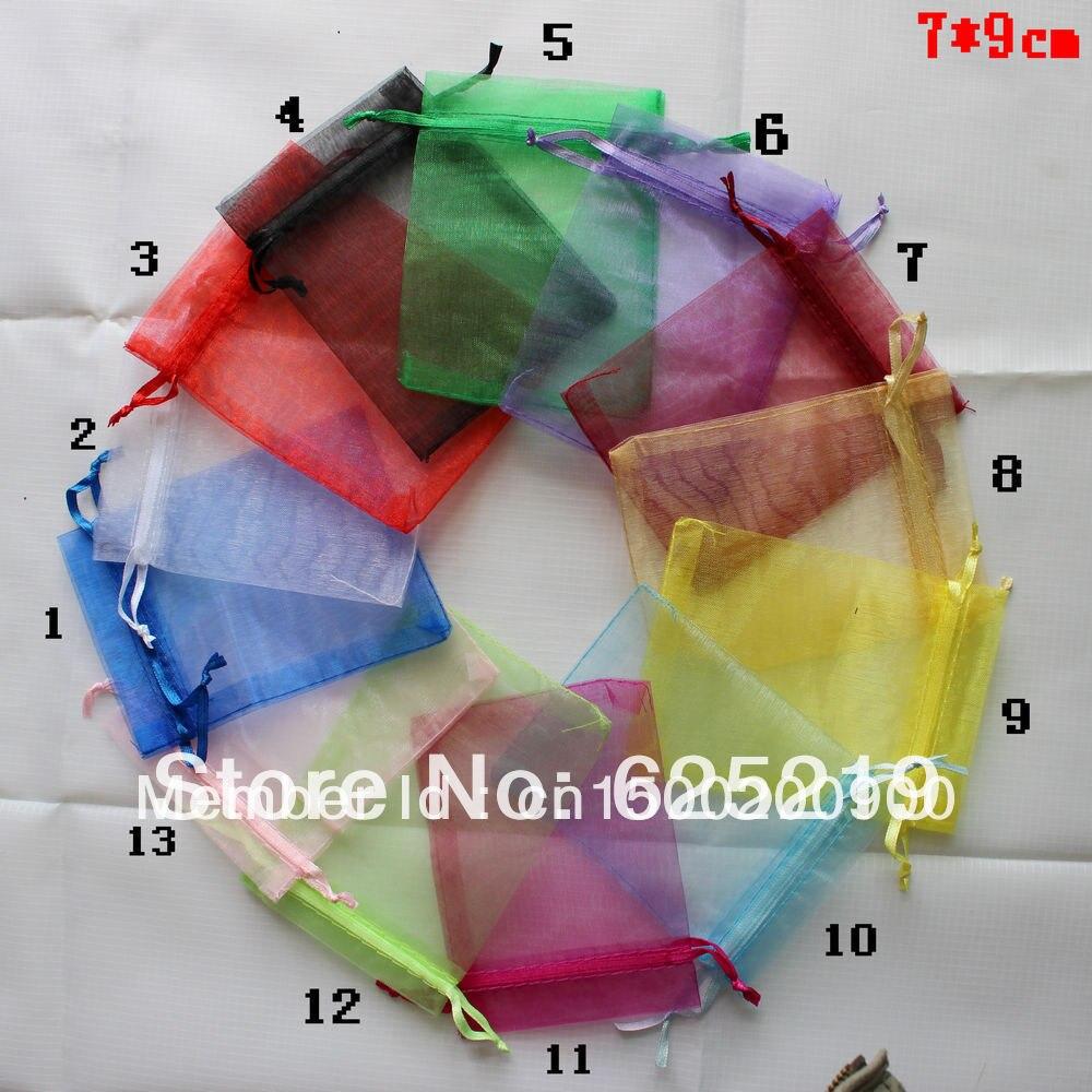 cd2bb8245e91f 7*9 cm/3*3.5 inç kırmızı organze çanta hediye çanta takı kesesi tatlı çanta  mix renk veya özelleştirmek boyutu