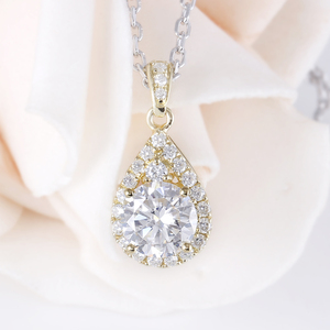 Image 3 - DovEggs 10K Yellow Gold 1.25CTW 6.5mm GH color Moissanite Halo Pendant Water Drop Shaped Pendant with Accents for Women