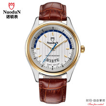 Nuodun Mens Watches Roles Brand Luxury Roleingly Brown Leather Men Watch Gold Dial Waterproof Montre Homme Marque De Luxe Role