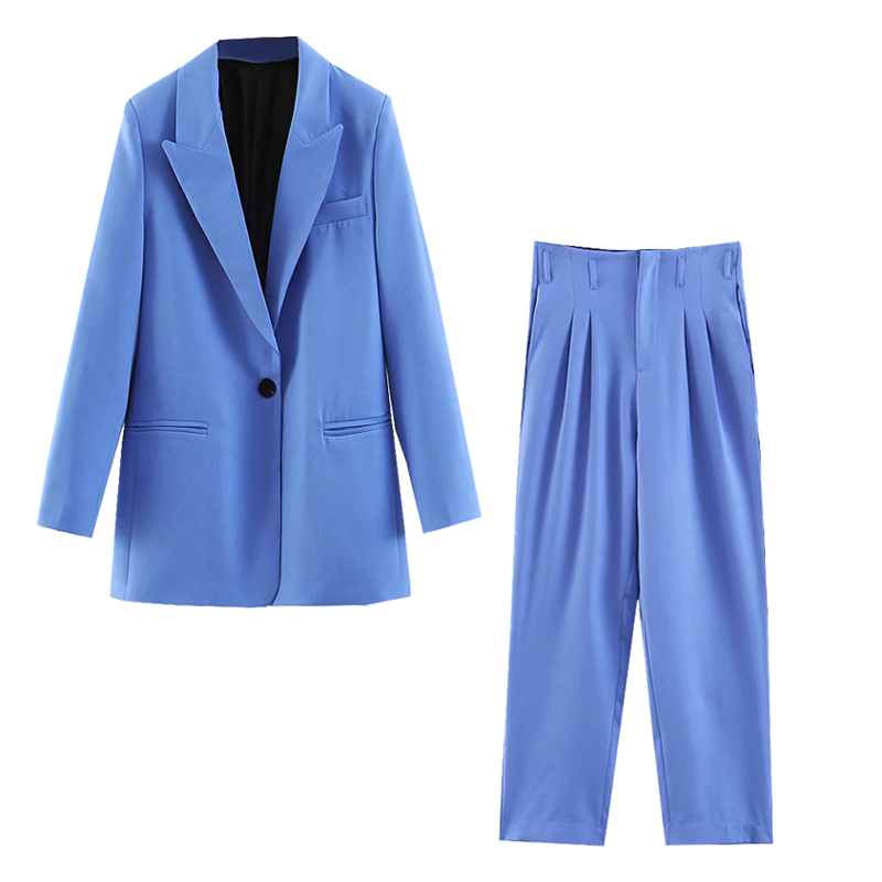 2019 Suit Set Female Casual Blue Long Section One Button Suit Jacket High Waist Straight Pleated Trousers Casual Pants Two-Piece