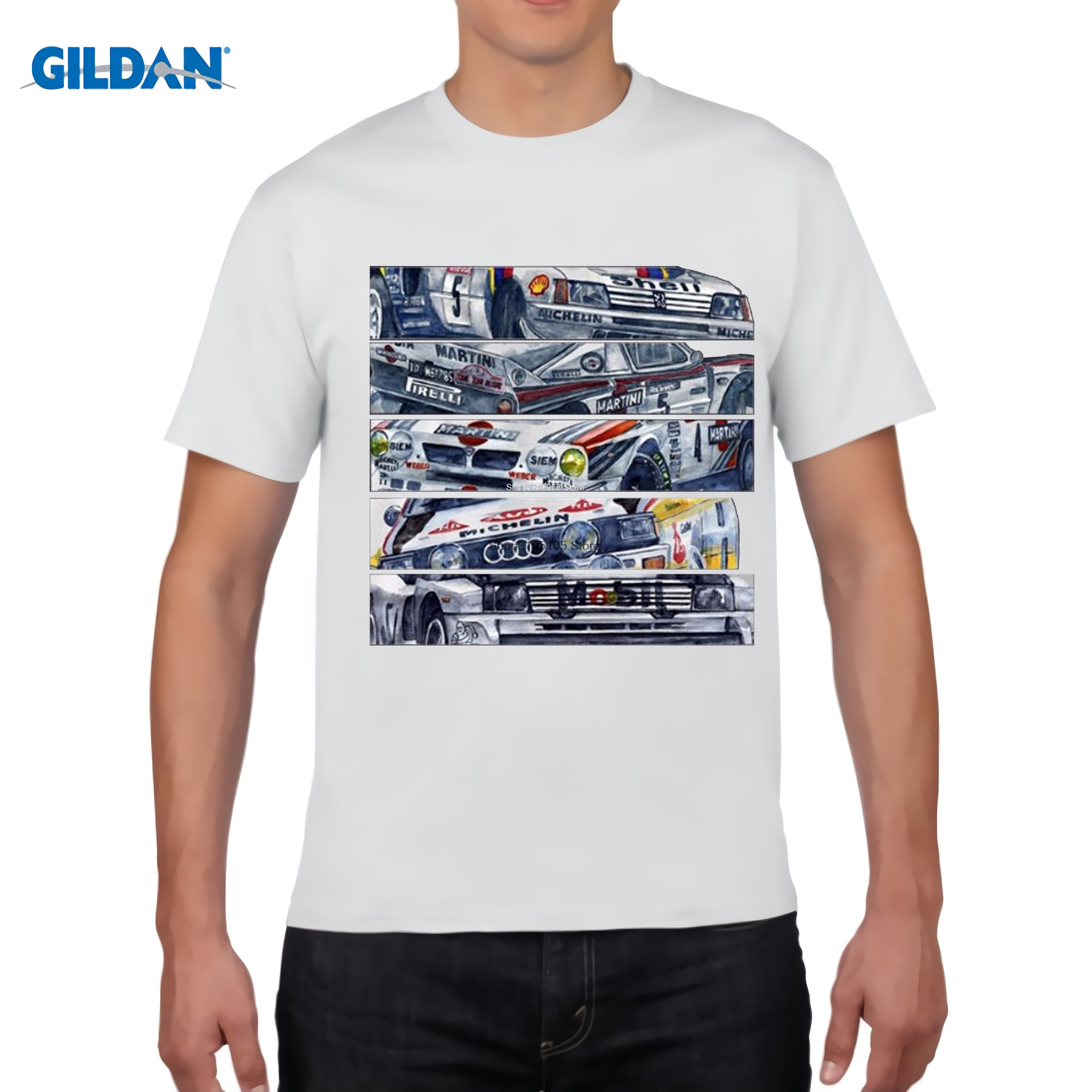 GILDAN designer t shirt 2017 Fashion Men O Neck Shirt New T-Shirt Rally Group B MG Custom Print 100% Cotton Retro Tee Shirt