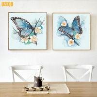 Two Pictures Full Diamond Mosaic DIY Diamond Painting Cross Stitch Animal Diamond Embroidery Lovers Butterfly Round