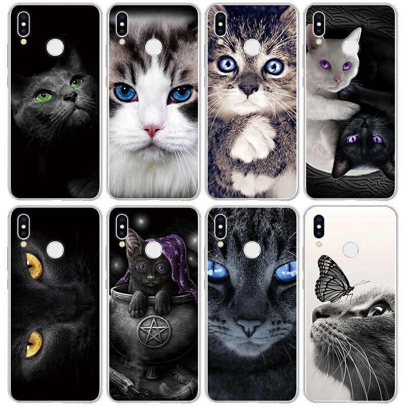 Cat Lovely Clear Soft Silicone TPU Capa For Huawei Honor 4A 4C 5C 5X 6A 6C 6X 7 7A Pro 7X 8 8C 8X View 10 20 Play 8A 9 Lite Case