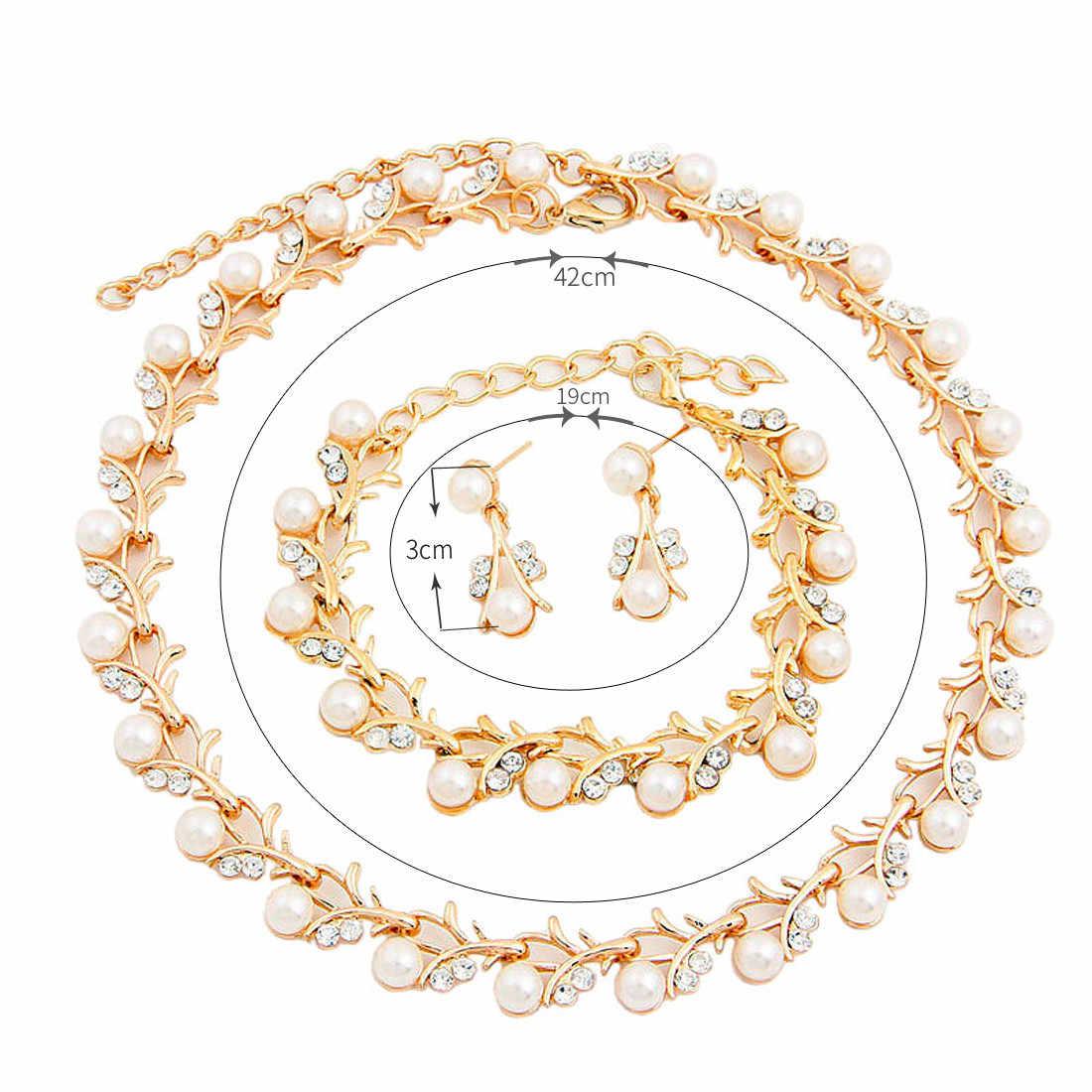 דובאי לוקסוס פרל תכשיטי סט לנשים כלות שרשרת עגילי צמיד סטי זהב כסף תכשיטים