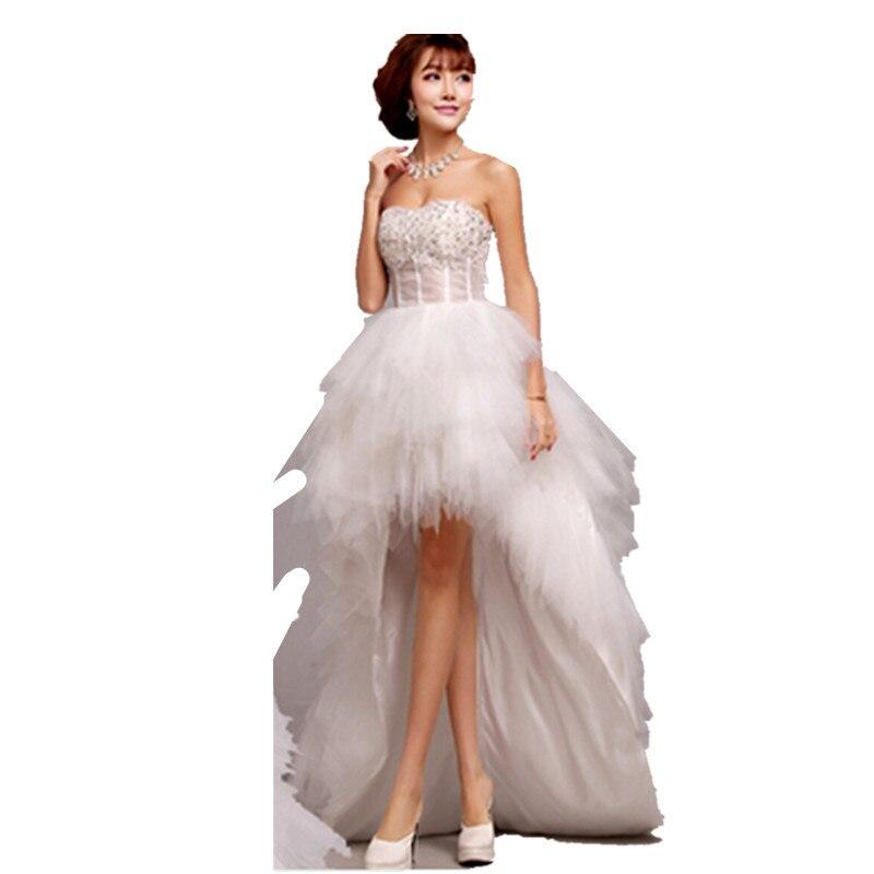 Summer style wedding dress short front long back wedding for Summer style wedding dresses