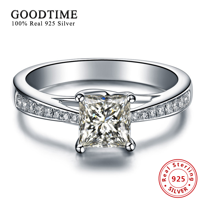 100 pure 925 sterling silver wedding rings for women princess cut created zirconia engagement ring