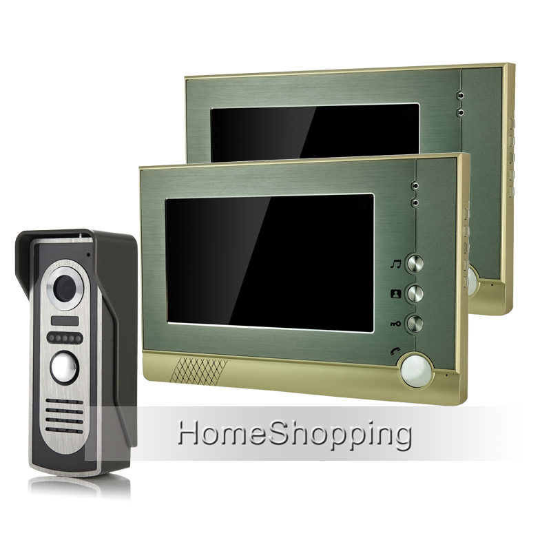 FREE SHIPPING New Wired 7 TFT LCD Screen Video Door phone Intercom Audio System + 1 Outdoor Door Camera + 2 Monitors Wholesale brand new wired 7 inch color video intercom door phone set system 2 monitor 1 waterproof outdoor camera in stock free shipping