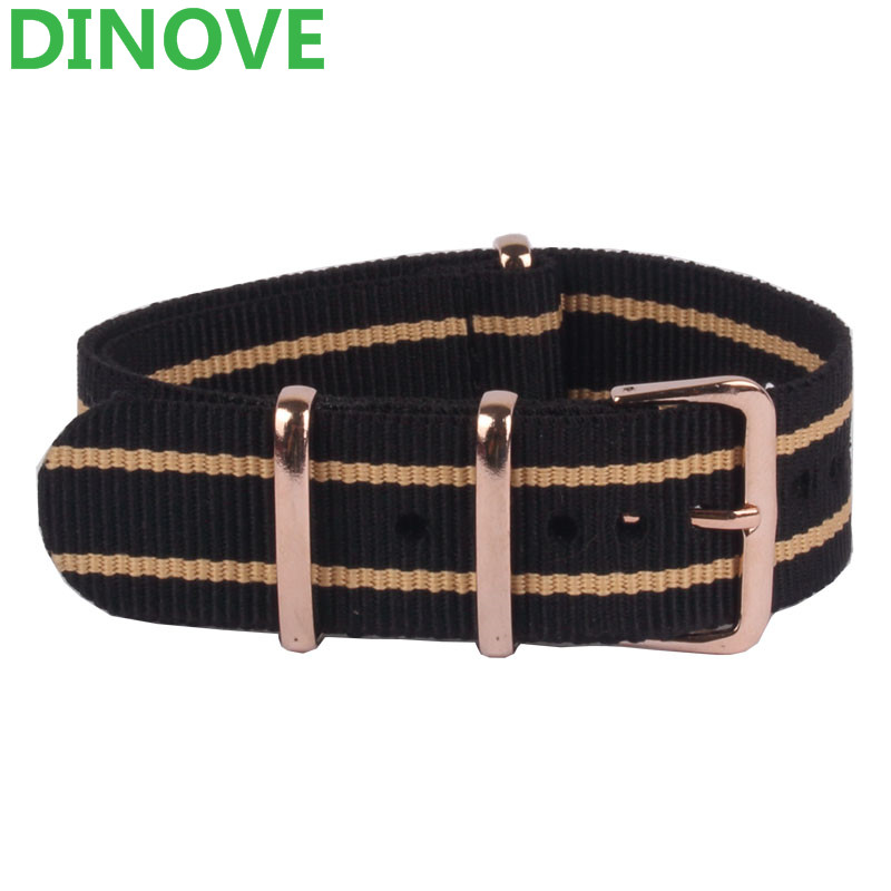 купить DINOVE Watch Band Rose Gold Buckle 18mm 20mm 22mm Black Beige Stripe belt Army Military Nato Fabric Nylon Watchbands Strap Bands по цене 298.02 рублей