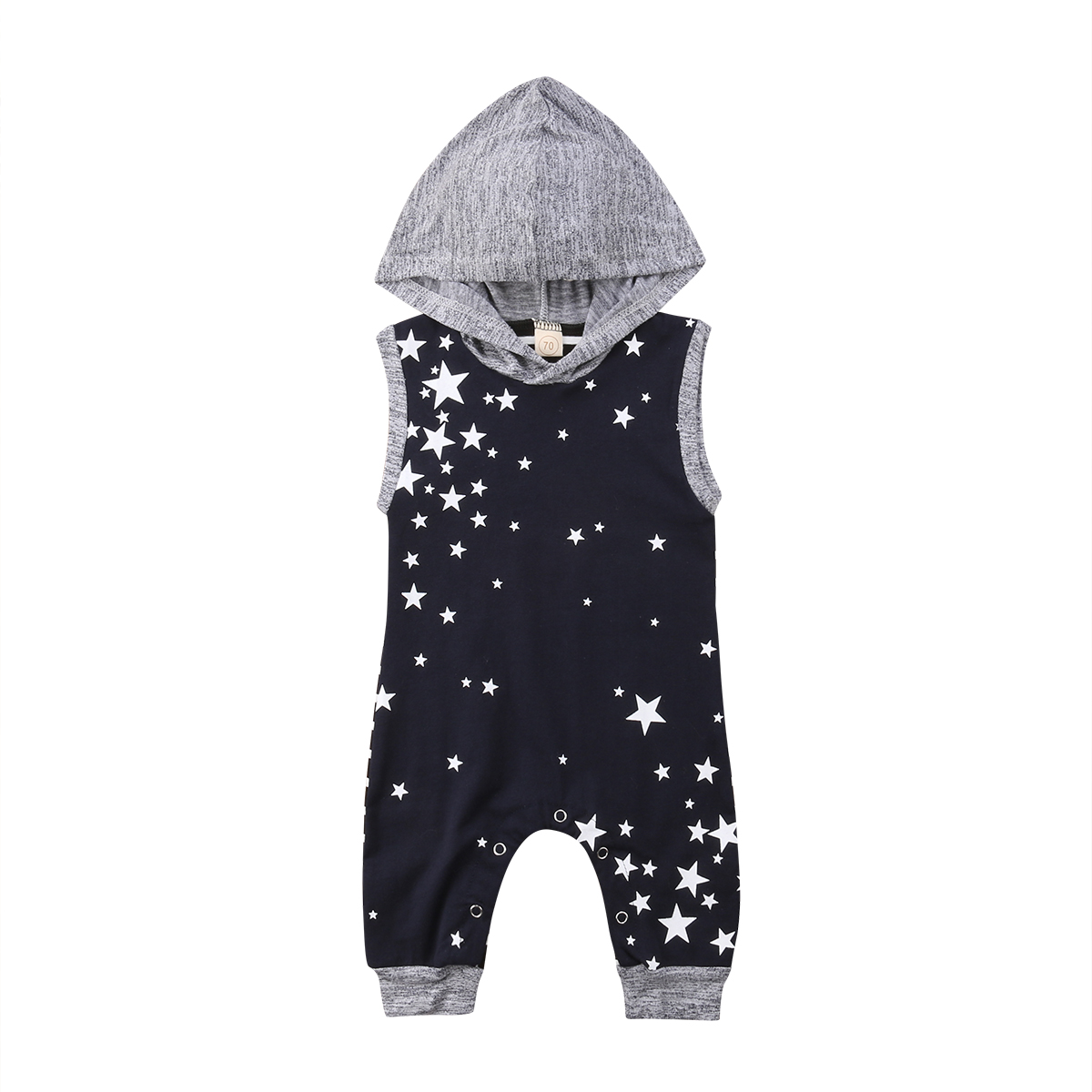 Newborn Baby Boy Clothes Hooded Sleeveless Top Romper Jumpsuit Sunsuit Star Printed Outfit Sunsuit Baby Boy 0-24M