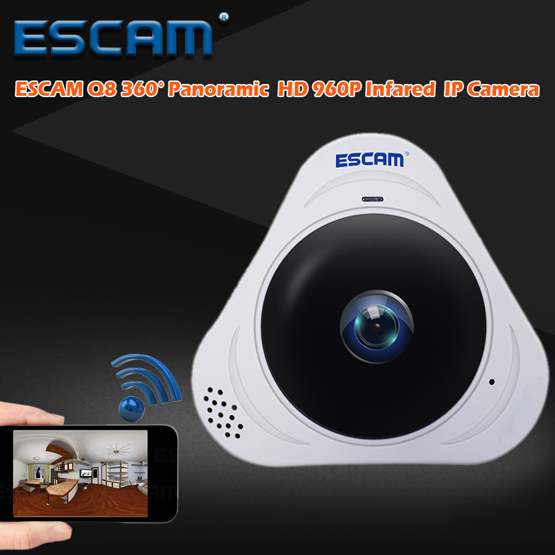 цена на ESCAM HD 960P 1.3MP 360 Degree Panoramic Monitor Fisheye WIFI IR Infrared Camera VR Camera With Two Way Audio/Motion Detector Q8