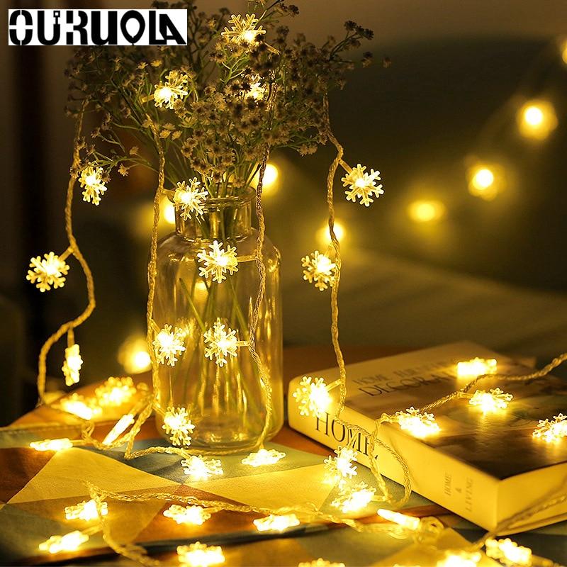 3m 20LEDS Snowflake LED String Lights Eid Mubarak Christmas Holiday Lighting Led Party Lights Party Decoration Baby Shower