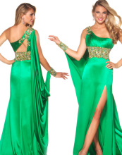 Elegant Green One Shoulder Evening Dresses Women Beads Long Prom Party Gowns With High Slit 2014 New Arrival