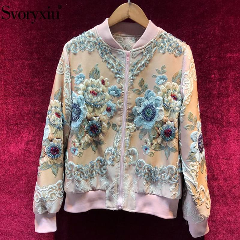 Kadın Giyim'ten Basic Ceketler'de Svoryxiu Sonbahar Kış tasarımcı lüks Pembe Ceketler Ceket kadın Zarif Boncuk Çiçek Baskı Jakarlı günlük ceketler Dış Giyim'da  Grup 1