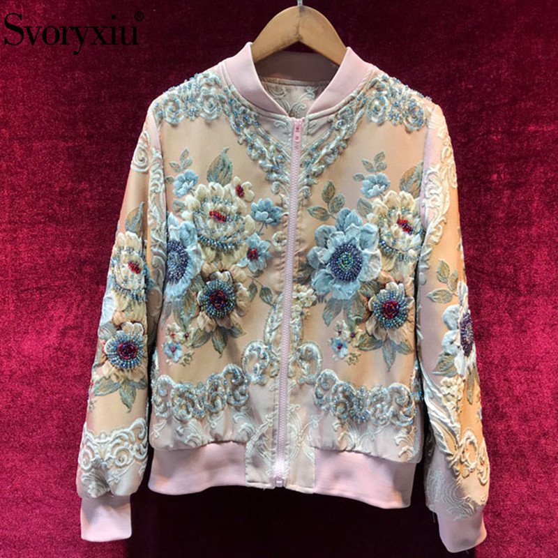 Svoryxiu automne hiver designer luxe rose vestes manteau femmes élégant perles fleur imprimé Jacquard vestes décontractée Outwear