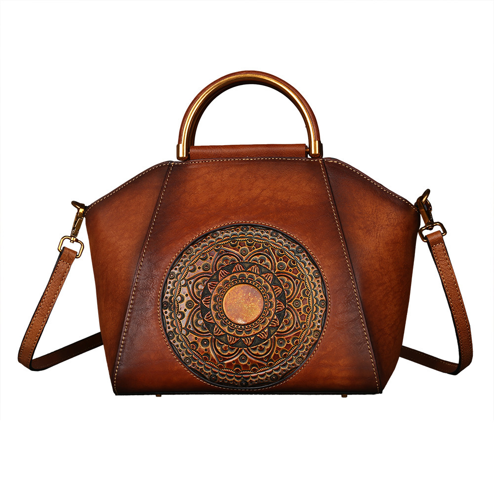High Quality Real Cowhide Women Shoulder Tote Bags Retro Handbag Totem Pattern Genuine Embossed Leather Messenger