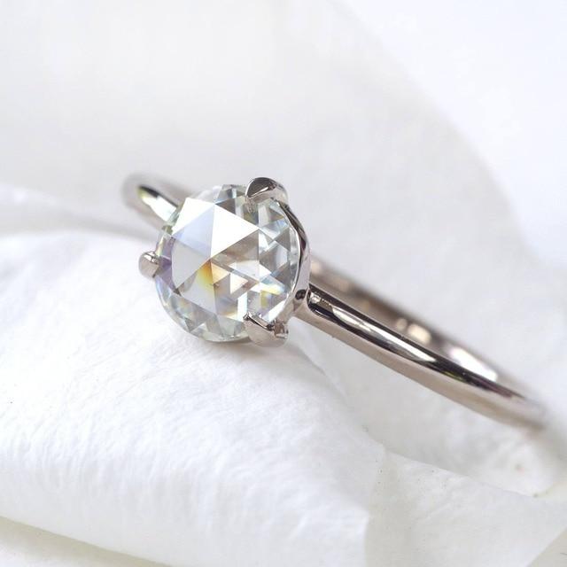0.87Carat 6.5mm Rose Brilliant Cut DEF Color Moissanite Wedding Ring 18k White Gold For Women Fine Ring 1
