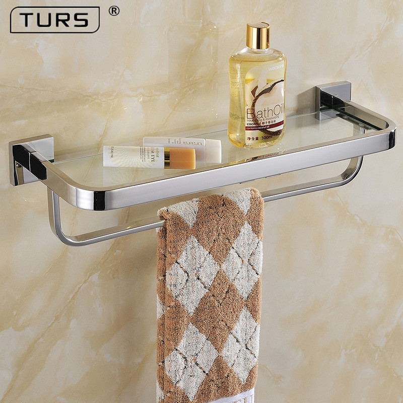 SUS 304 Stainless Steel Bathroom Lavatory Tempered Glass Shelf with Towel Bar Wall Mount, Polished Stainless Steel, SilverSUS 304 Stainless Steel Bathroom Lavatory Tempered Glass Shelf with Towel Bar Wall Mount, Polished Stainless Steel, Silver