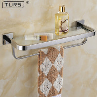 SUS 304 Stainless Steel Bathroom Lavatory Tempered Glass Shelf with Towel Bar Wall Mount, Polished Stainless Steel, Silver
