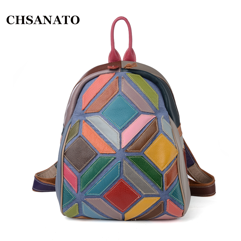 Women Genuine Leather Backpack 2018 New European and American Style Patchwork Fashion Shoulder Bag