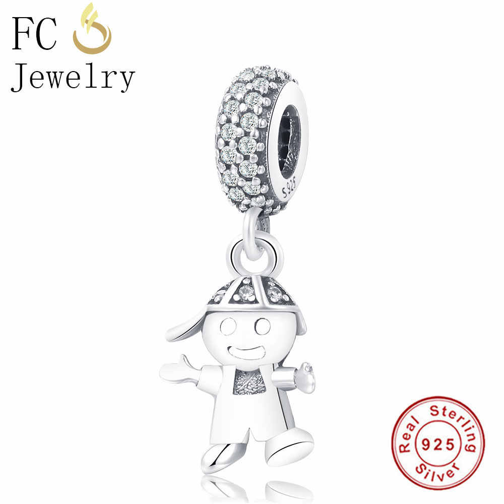 4b1d544b0 ... FC Jewelry Fit Original Pandora Charm Bracelet 925 Silver Family Robot  Boy Girl Letter Best Friends ...