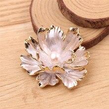 Дизайнерская антикварная розовая Цветочная Брошь золотого цвета в рамке, куполообразная имитация белого жемчуга, Цветочная Брошь-булавка для свадебной вечеринки
