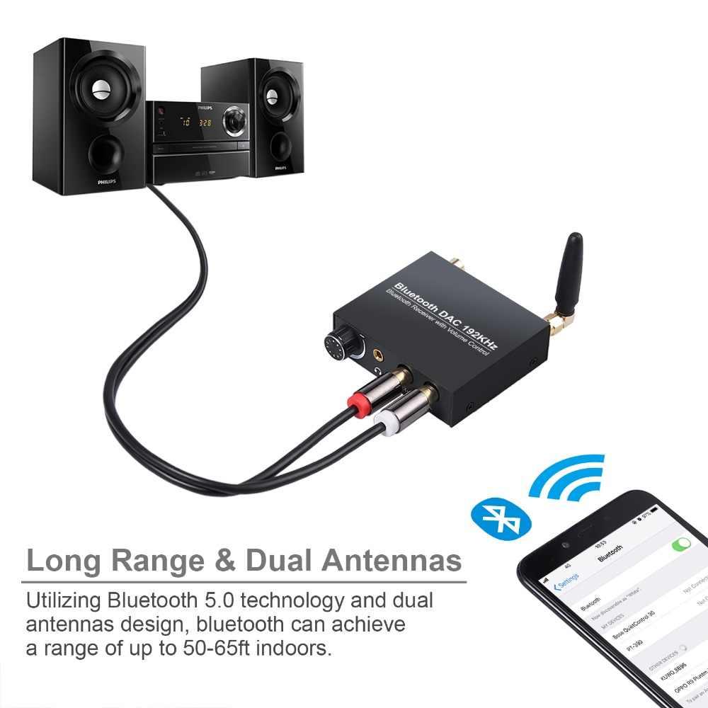 LiNKFOR 192kHz cyfrowy na analogowy konwerter Audio z Bluetooth odbiornik bezprzewodowy Audio DAC dla HiFi Stereo Audio Bluetooth DAC