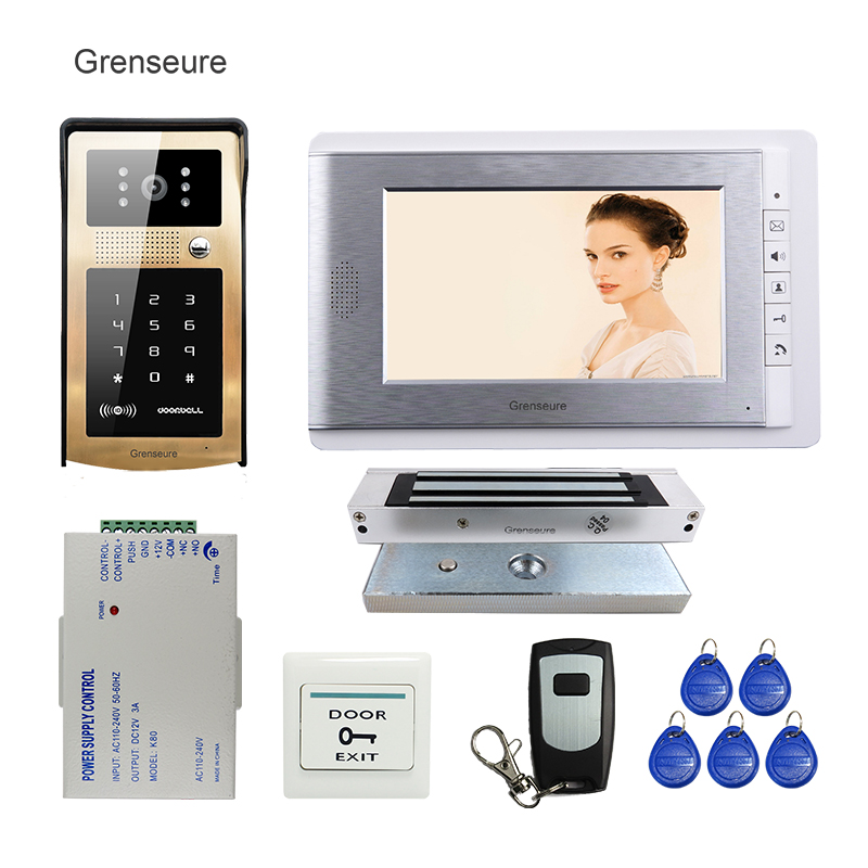 FREE SHIPPING 7 Color LCD Video Door Phone Intercom SYSTEM Metal Outdoor RFID Code Keypad Doorbell IR Camera + Magnetic Lock free shipping 7 lcd video door phone intercom system 2 screens rfid access code keypad password camera electric control lock