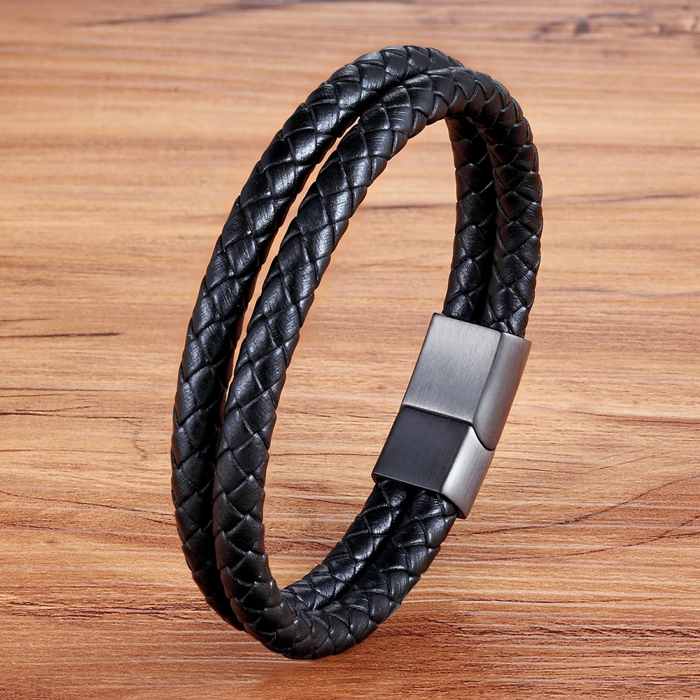 XQNI Personality Genuine Leather Bracelet Double Layer Black Bangle For Female Unisex Accessories Jewelry For Birthday Gift