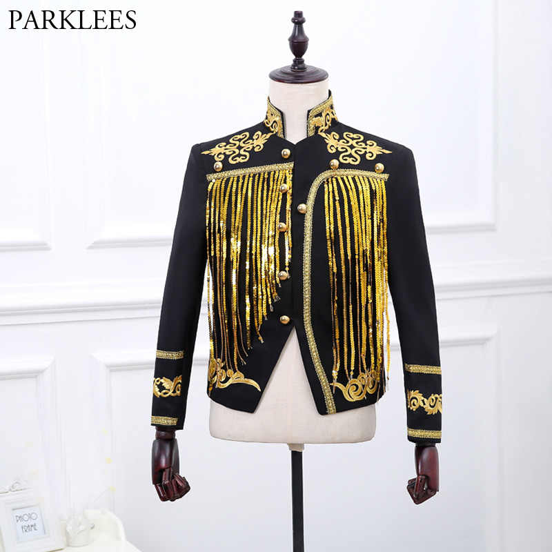 Gold Tassel Sequins Blazer Jackets Men Single Breasted Mens Black Suits  Stage Prom Wedding Glitter Blazers 7ed5ac0b0174