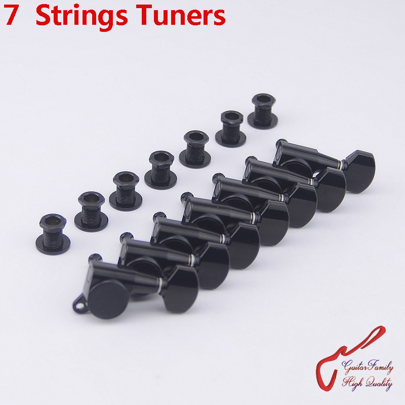 Genuine Original 7 In-line GOTOH SG381-07 7 Strings Guitar Machine Heads Tuners ( Black ) MADE IN JAPAN wilkinson deluxe wj55s 6 in line machine heads tuners black new guitar parts