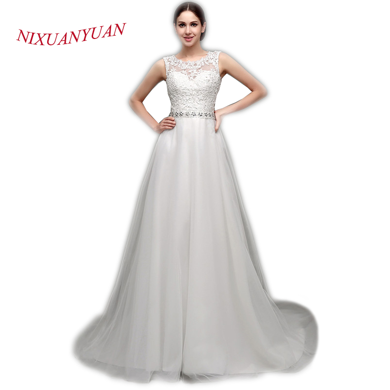 Vestido De Noiva 2017 New Elegant Lace Applique Tulle: NIXUANYUAN 2017 New Hot Sale Ivory White Tulle Wedding