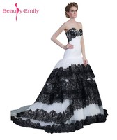 Beauty Emily White Black Lace Wedding Dresses 2017 Sleeveless Lace Up Tiered Bridal Dresses Wedding Gowns Vestidos de noiva
