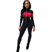Sexy Bodycon Jumpsuit Women Casual Color Block Patchwork Long Sleeve Zipper Stand Collar Women Jumpsuit Female