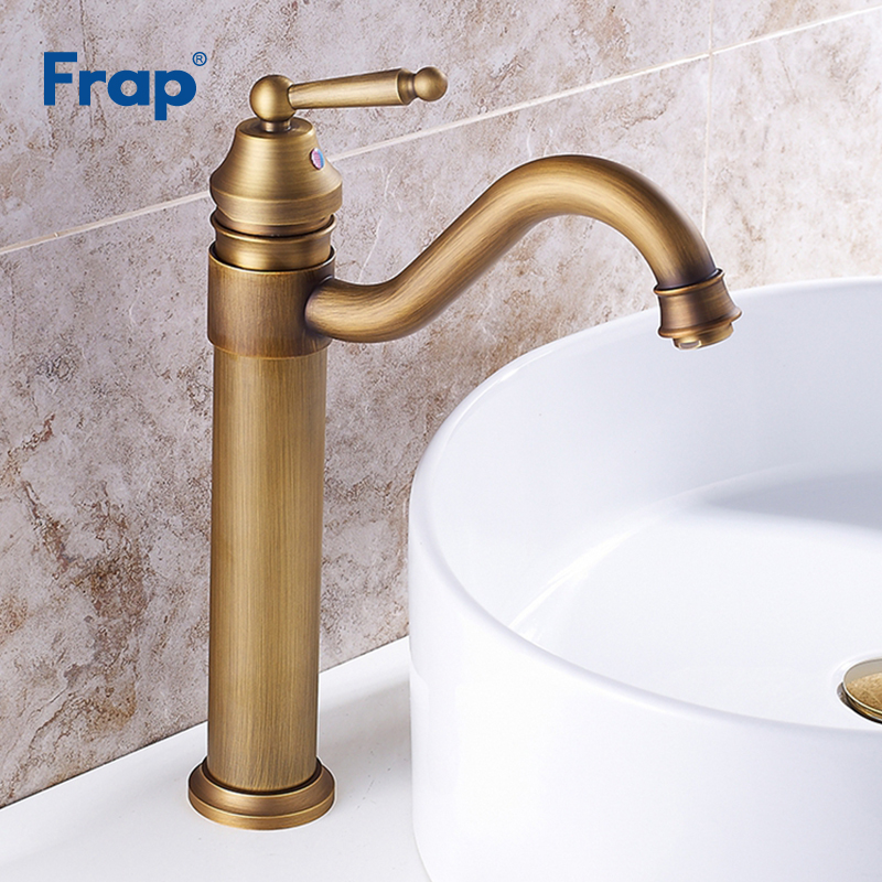 Frap Nwe Arrival Basin sink Faucet Brushed Single Handle Cold Hot Water Mixer Retro Style Solid