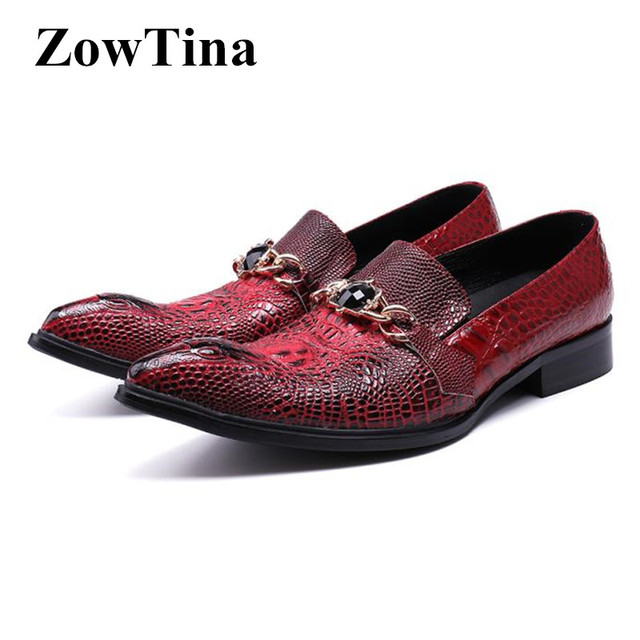 Men Pointed Toe Oxford Shoes Wine Red Crocodile Genuine Leather Formal  Dress Wedding Shoes Slip On 0ac10773e93b