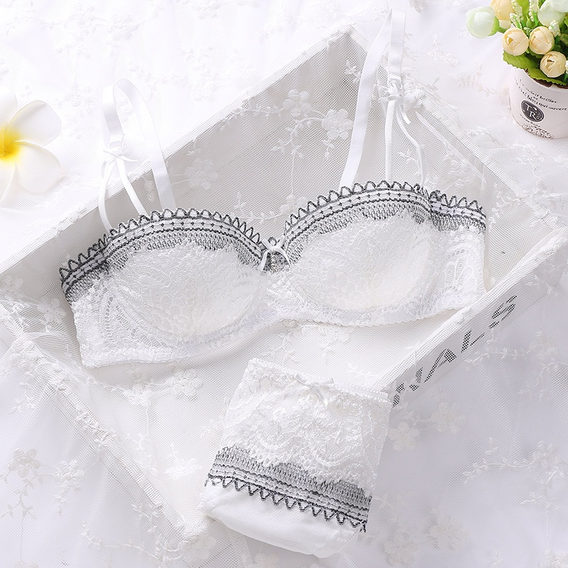 Women Mesh Sweet   Bra     Sets   1/2 Cup Push Up Underwear Silk Lace Flower   Bra     Brief     Set     Bra   Hollow Out Panties