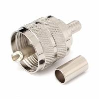 10 Pcs Connector UHF Male Pl259 Plug Crimp RG58 RG142 LMR195 Cable Straight