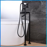 Quality assurance Black Floor Mounted Bathroom Tub Shower Faucets Free Standing Bathtub Shower Mixer Taps with Hand Sprayer
