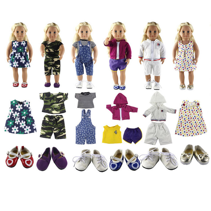 New Style 6 Set American Girl Doll Clothes of Sportwear, Princess Dress, Casual Clothes, Fashion Wear for 18 American Girl Doll new style 10 set doll clothes for 18 inch american girl handmade casual wear
