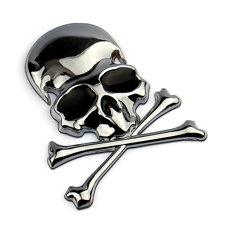 7.2x6CM 3D Metal Skull Skeleton Crossbones Car Motorcycle Sticker Truck Label Emblem Badge Car Styling Decoration Accessories dragon emperor kaiser loong imperial chinese character script 3d metal diy car auto motorcycle badge emblem sticker car styling