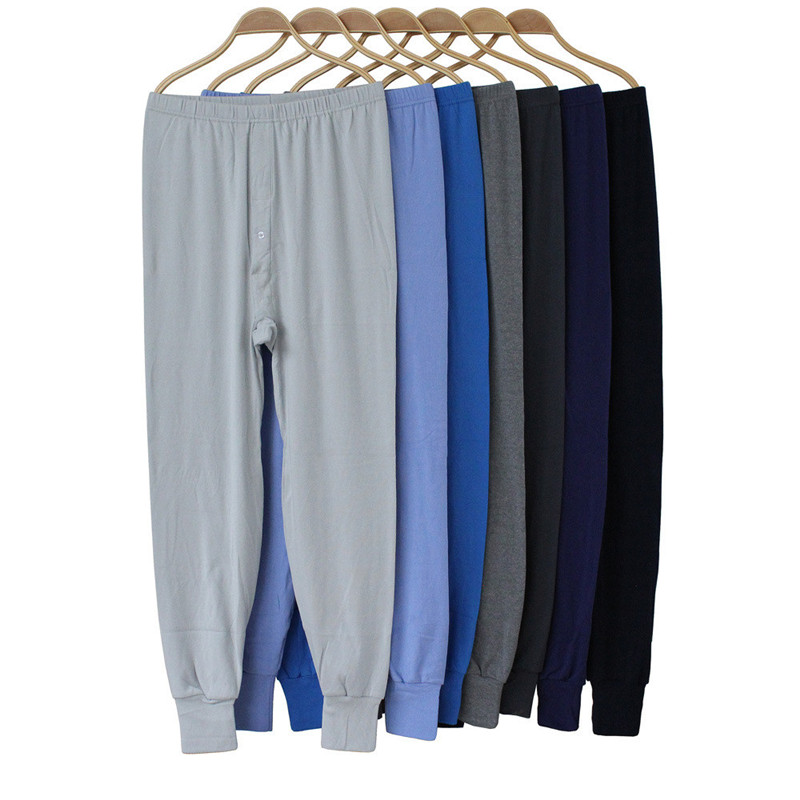 Underwear Long-Johns Warm Men Soft for Autumn Brand Male Solid Plus-Size Random-Color