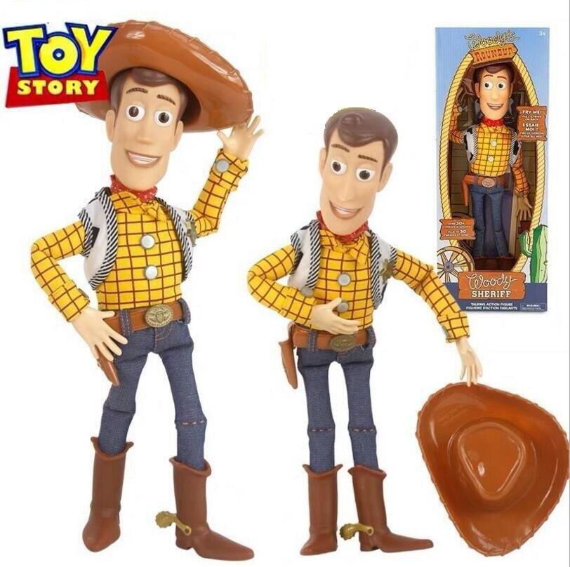 43cm Toy Story 4 Talking Teddy figuras de acción de juguete vaquero modelo juguetes niños regalo de Navidad envío gratis
