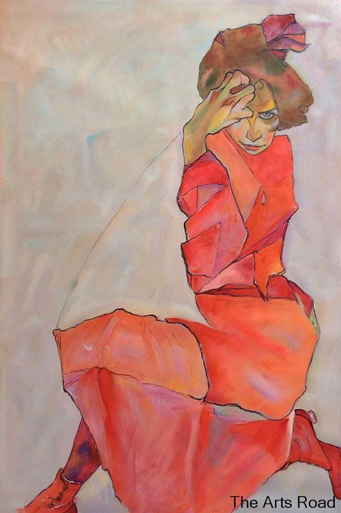 80 02 13 De Réduction Abstrait Femme Peinture à Genoux Femme En Robe Orange Rouge 1910 Egon Schiele Mur Peinture Portrait Peint à La Main In