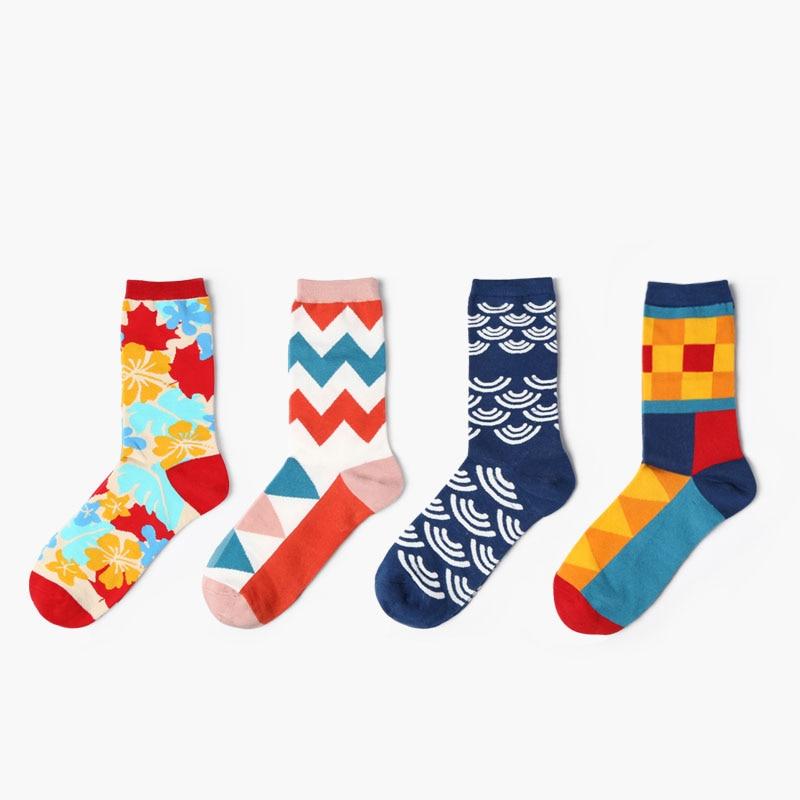 Colourful crew cotton happy socks men/women british style casual designer brand fashion novelty art for couple funny new fashion