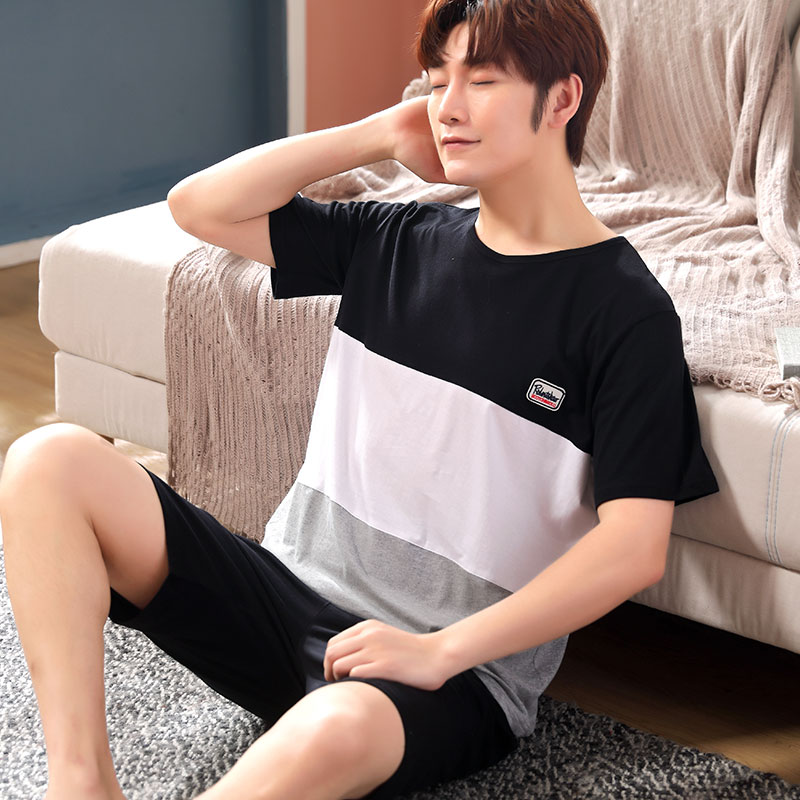 2019 Summer 100% Cotton Short Sleeve Pajamas Sets For Men Cute Cartoon Sleepwear Pyjama Male Homewear Pijama Lounge Home Clothes