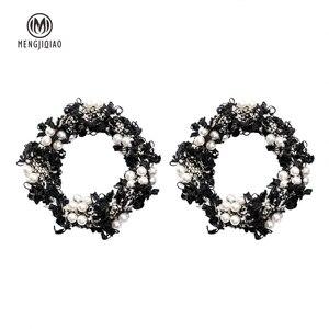 MENGJIQIAO 2018 Koreanische Neue Mode Spitze Kranz Großen Kreis Ohrringe Für Frauen Handmade Simulierte Perle Erklärung Baumeln Ohrringe