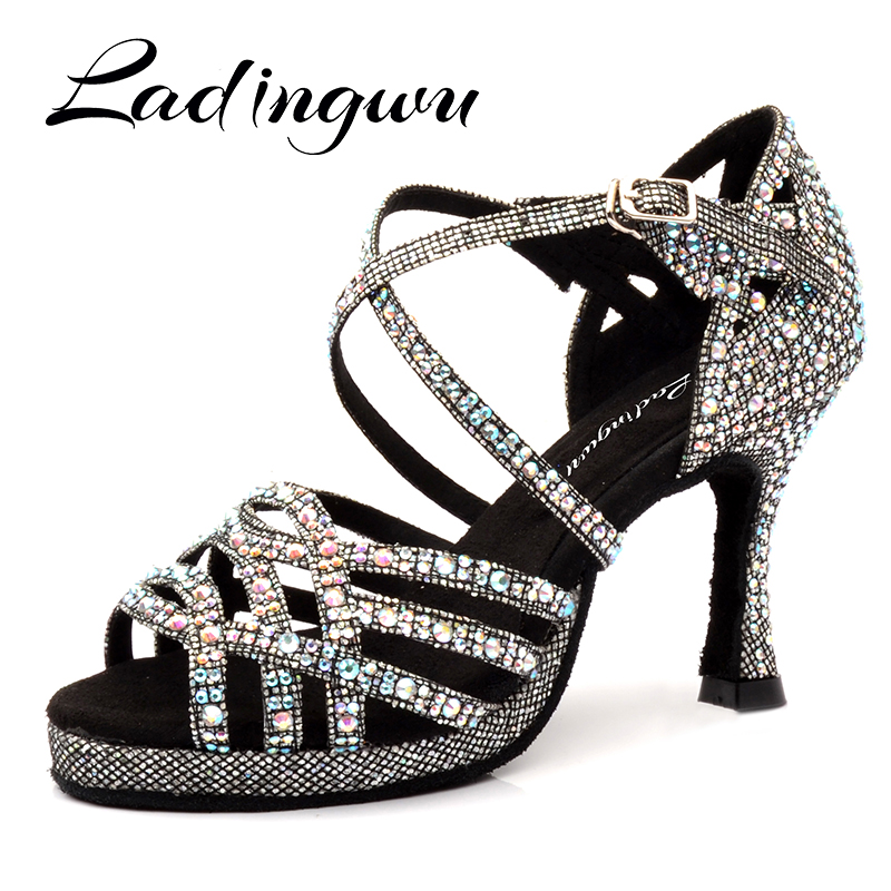 Ladingwu Latin Dance Shoes Platform Tango Shoes Dance Ballroom Shoes Girls Rhinestone High Heels Glitter Salsa