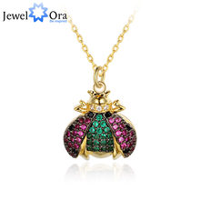 High-grade Trendy Cute Ladybug Insects Necklace&Pendants Jewelry For Women Girl Fashion Chain Choker (jewelora NE102762)(China)